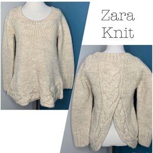 Zara Knit Cream Oatmeal Braided Split Back Sweater